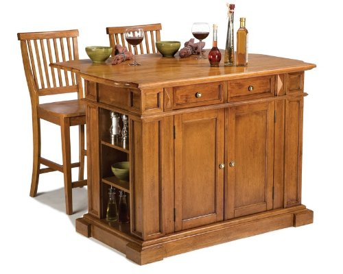 Image of 3pc Kitchen Island and Stools Set in Oak Finish (VF_HY-5004-948)