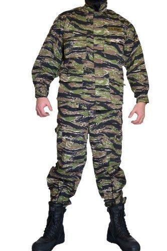タイガーストライプⅡ リザードパターン とかげパターン ワッペン付き レプリカ BDU 迷彩服 戦闘服 ジャケット&パンツ 上下セット (S)
