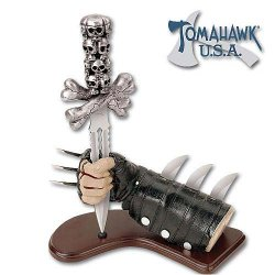Skull Dagger With Leather Glove Display