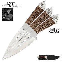 United Cutlery Kr0059 Kit Rae Aircobra Throwing Knife, 9-Inch, Silver, 3-Pack