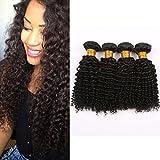 "Mornice Hair 4 Bundles 100% Unprocessed 8A Peruvian Remy Kinky Curly Virgin Hair Weave Human Hair Extensions Natural Black 400 Gram (8""8""8""8"")"