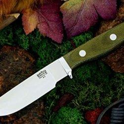Bark River Gameskeeper Ii Fixed Blade Knife,Green Canvas Micarta Handle 02-221Mgc