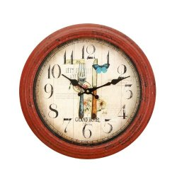 Adeco Red Iron Round Wall Hanging Clock, Fork And Knife Design Kitchen Home Decor