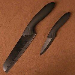 Stone River 2-Piece Santoku/Parer With Black Ceramic Blade
