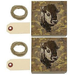 Buffalo Bison Head Bust Kraft Gift Boxes Set Of 2