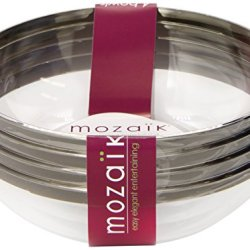 Mozaik Round Bowls, Silver Rimmed (14-Ounce), 4-Count Bowls (Pack Of 4)