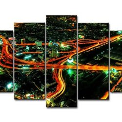 5 Panel Wall Art Painting Night City Prints On Canvas The Picture City Pictures Oil For Home Modern Decoration Print Decor