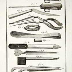 1779 Copper Engraving Antique Surgical Instruments Trocars Knife Diderot Ddr2 - Original Copper Engraving