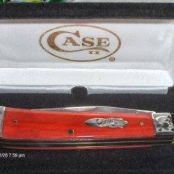 W.R. Case Xx Knives Trapper Smooth Red Bone Handles Scrolled Bolsters Bomb Shield Sfo