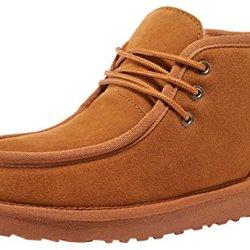 Rock Me Men'S Genuine Leather Fluff Snow Boot(Chestnut,9.5)
