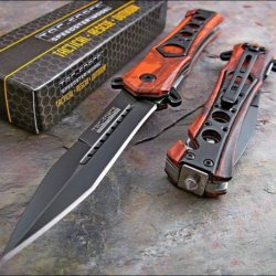 Tac-Force Speed Assisted Opening Red Camo Seat Belt Glass Breaker Rescue Knife!!