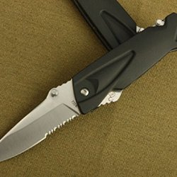 Serrated Tactical Survival Rescue Camping Hunting Folding Sharp Clip Black Handle Knife 830-7.08''