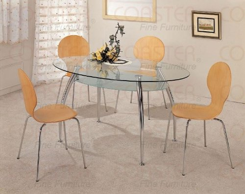 Image of 5pc Oval Glass Top Muller Natural Dining Table Chairs Set (VF_dinset-120101-2971)