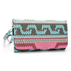 Doogee Dagger Dg550 Wallet & Wristlet Case || Nordic Tribal Teal With Credit Card Holder