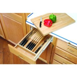 Rev-A-Shelf 4Kcb-18 4Kcb Series Combination Knife Holder And Cutting Board For 1, Natural Wood