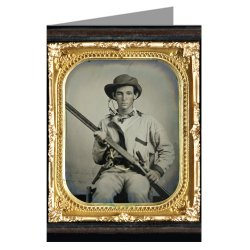 1 Vintage Greeting Cards Of Confederate Soldier In Pullover Hunting-Style Shirt With Dark Military-Type Trim With Double Barrel Shotgun, Revolver, And Side Knife From The Civil War.