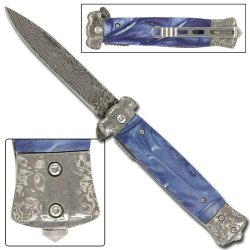 Striker Damascus Blue Pearl Tactical Pocket Knife