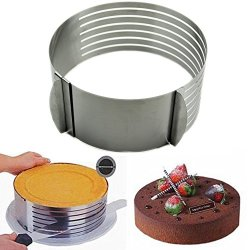 Heroneo® 16-20Cm Adjustable Stainless Scalable Mousse Cake Ring Layer Slicer Cutter Mould