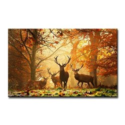 Brown Wall Art Painting Deer In Autumn Forest Pictures Prints On Canvas Animal The Picture Decor Oil For Home Modern Decoration Print