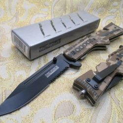 Tac-Force Assisted Opening Linerlock Desert Camo A/O Speed Rescue Glass Breaker Knife