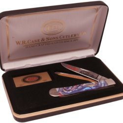Case Cutlery Cat-Ln/Star Landn Railroad Corelon Handel Trapper Pocket Knife With Tru Sharp Surgical Steel Blades, Red, White And Blue