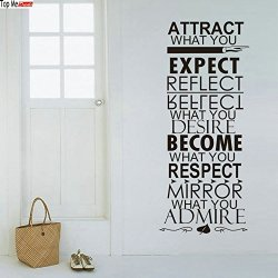 Top-Me Attract Expect Become Respect Quote Vinyl Decal Diy Wall Stickers Tm8246