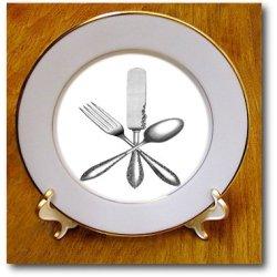 Cp_174022_1 Florene - Vintage Ii - Image Of Knife Fork Spoon Vintage - Plates - 8 Inch Porcelain Plate