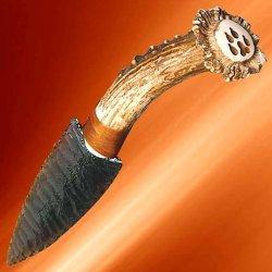 Native Indian Deer Antler Obsidian Blade Knife