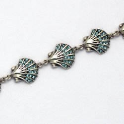 "Sterling Silver 8"" Scallop Shell Bracelet With Aqua Swarovski Crystals"