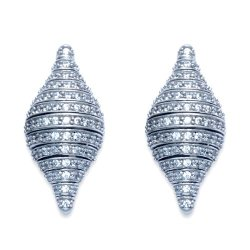 Sterling Silver Nautilus Shell Stud Earrings W/Crystal Stones