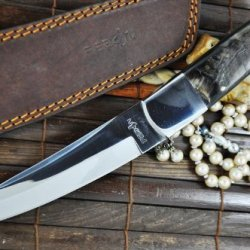 Now On Sale - Handmade Hunting Knife - 440C Steel - Tanto Blade & Ram'S Horn Handle