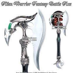 Ace Martial Arts Alien Warrior Fantasy Battle Axe W/ Dagger & Plaque New