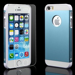 Iphone 5 5S Blue Case + Glass Screen Protector Blue Bundle Combo: Blue Aluminum Metal (7H Hardness, Blue) On Hard Apple Iphone 5 5S Cover Case With Soft Silicone Cushion Plus Scratch Proof Glass Screen Protector. Blue Amplim Alloy Ultra Fs (At&T, Verizon,