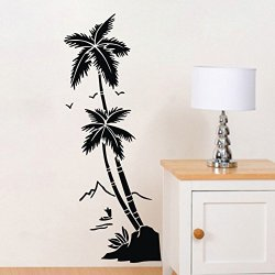Lsd High Quality Nice Coconut Tree Palm Diy Art Vinyl Transfer Wall Sticker Mural Decal Room Home Decor Decorations Removable Hot