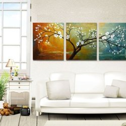 Sangu 100% Hand Painted Wood Framed 3-Piece Hot Sale Modern Colors Tree For Abstract Oil Painting Gift Canvas Wall Art For Home Decoration
