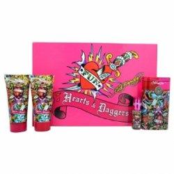 Ed Hardy Hearts And Daggers 4 Piece Gift Set (3.4 Oz Eau De Parfum, 3 Oz Body Lotion, 3 Oz Shower Gel & .25 Oz Eau De Parfum Mini Fragrance)