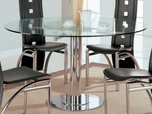 Image of Rotating Dining Table with Glass Top in Chrome - Coaster (VF_AZ00-45954x29142)
