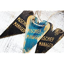 Set of 2 Mischief managed Halloween party supply guest favors heart ornaments wooden Christmas ornaments Harry Potter