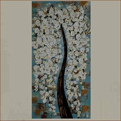 Xm Art-The White Garden Trees Palette Knife Landscape Oil Painting On Canvas Wall Art Deco Home Decoration(Unstretch And No Frame)