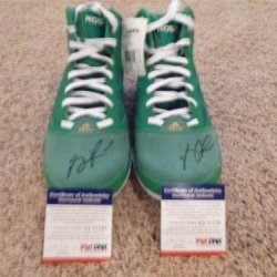 Derrick Rose Signed Auto Adidas Adizero Green Pair Shoes Shoe Autographed - Psa/Dna Certified - Autographed Nba Sneakers