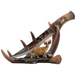 Buck Display Knife On Antler Stand With Deer Figurine And Stainless Steel Blade For Rustic Cabin & Lodge Decor Sculptures For Statues And Decorative Hunting Knives Or Daggers As Gifts For Hunters And Outdoorsmen