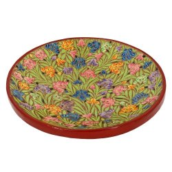Artistic Accents Colorful Paper Mache Fruit Serving Tray Platter Red Decor