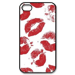 Diy Personalized New Custom Cute Cartoon Sexy Red Kiss Lips Lipstick Pattern Design Cell Phone Case Cover For Apple Iphone 4S Case Iphone 4 Case Hard Plastic Mobile Phone Case Protective Shell