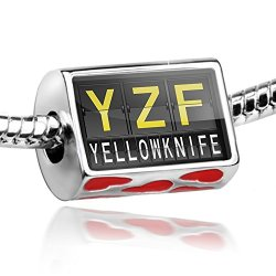 Bead With Hearts Yzf Airport Code For Yellowknife - Charm Fit All European Bracelets, Neonblond