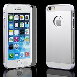Iphone 5 5S Silver Case + Glass Screen Protector Silver Bundle Combo: Silver Aluminum Metal (7H Hardness, Silver) On Hard Apple Iphone 5 5S Cover Case With Soft Silicone Cushion Plus Scratch Proof Glass Screen Protector. Silver Amplim Alloy Ultra Fs (At&T