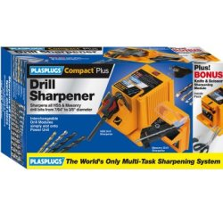 Plasplugs Dsh403Us Compact Plus 1 Amp 7/64-Inch To 3/8-Inch Hss And Masonry Drill Bit Sharpener With Knife And Scissor Modules