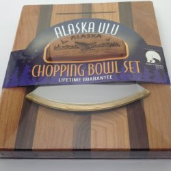 Made In Alaska Ulu Birch/ Walnut Stripe Chopping Bowl Set Ulu Knife Handle Humpback Whale