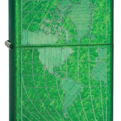 Zippo Meadow Iced World Lighter (Green, 5 1/2X3 1/2-Cm)