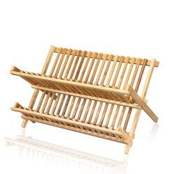 Adeco 100% Natural Bamboo Dish Rack Pot Cover Holder- Kitchen