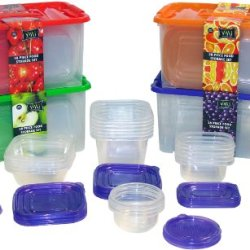 Vmi Housewares 58-Piece Food Storage Set, Clear With Red, Orange, Green And Purple Lids
